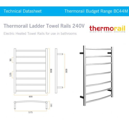 Thermorail Budget BC44M Heated Towel Rail