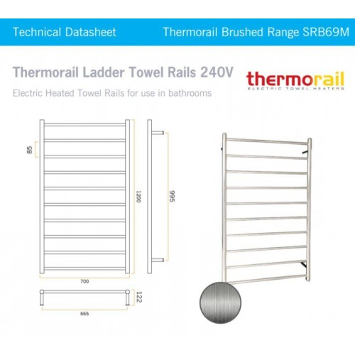 Thermorail SRB69M Heated Towel Rail/Round/Brushed Stainless