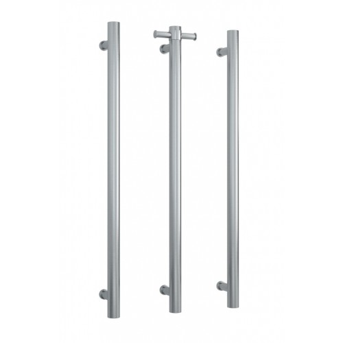 Thermorail Vertical Single Bar Heated Towel Rail/Brushed Stainless