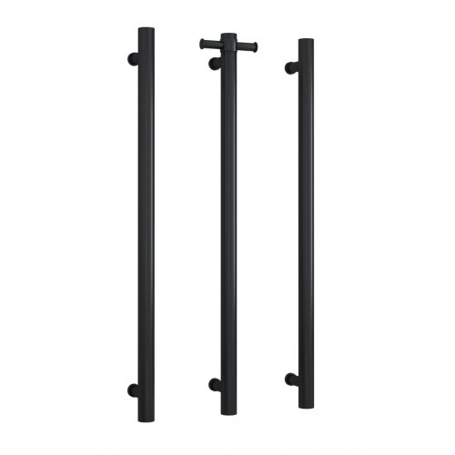 Thermorail Vertical Single Bar Heated Towel Rail/Matte Black