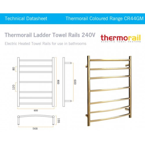 Thermorail  CR44GM Curved Heated Towel Rail/Round/Polished Gold