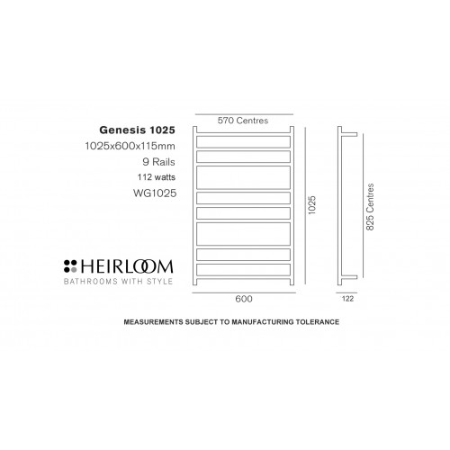 Heirloom Genesis 1025 heated towel rail