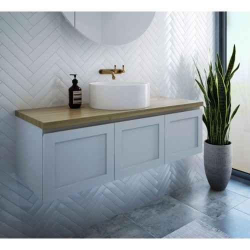 Hamilton 1200 Wall Hung Vanity/Gloss White/White Oak Limewash Solid Timber Top & Speron Basin