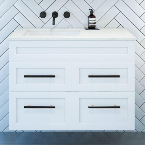Newport 900 Wall Hung Vanity/Gloss White With Caesarstone Noble Grey Top & Omega Basin