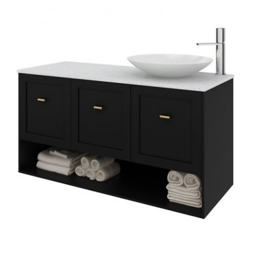 Nouveau 1500 Wall Hung Vanity In Dulux Ticking Gloss With Freestyle Arctic White Top