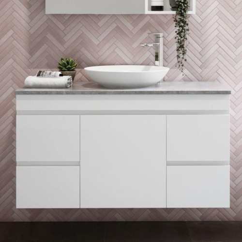 Montreal 1200 Wall Hung Vanity/White Gloss/Caesarstone Rugged Concrete Top & Haven Basin