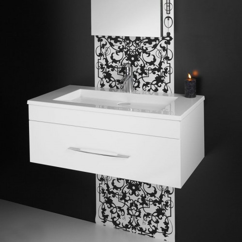 Aria 900 Single Drawer Wall Hung Vanity/White Gloss With Vogue Acrylic Top & Curve Chrome Handle