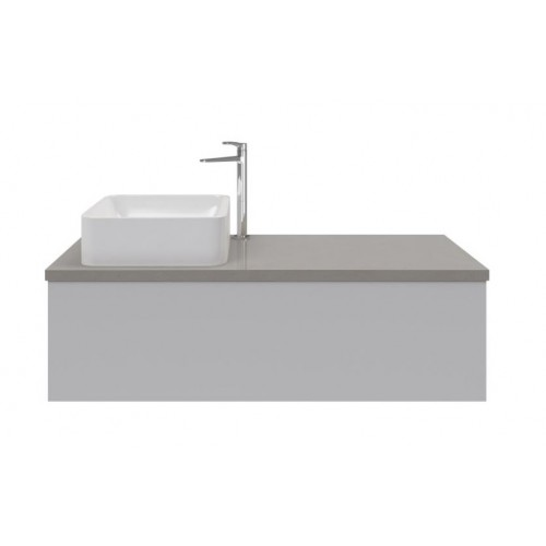 Sleek 1200 Wall Hung Vanity/White Gloss With Freestyle Smooth Concrete Top & Cuba Basin