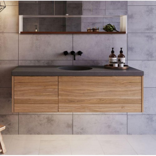 Opera 1200 Polytec Notaio Walnut Wall Hung Vanity With Luxecrete Solid Concrete Top