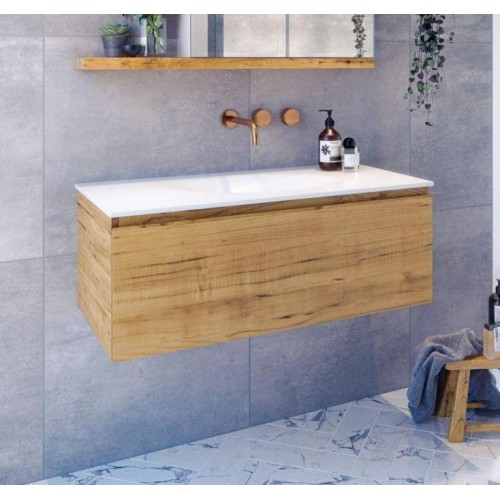 Genesis 900 Wall Hung Vanity Solid Timber Stringy Bark/12mm Optimum Solid Surface Top
