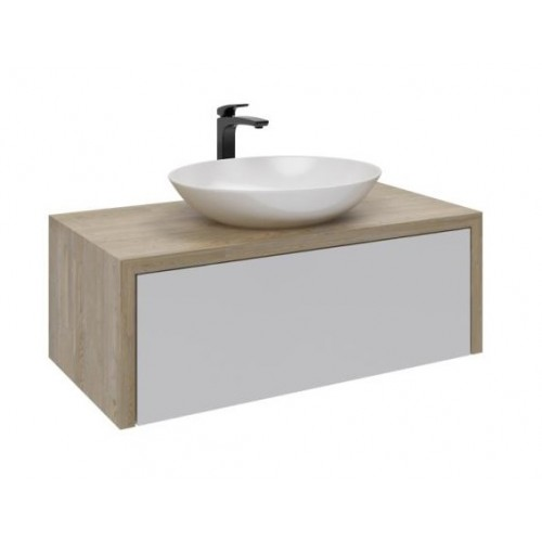Cascade 900 Wall Hung Vanity Single Drawer/Waterfall Top In Solid White Oak