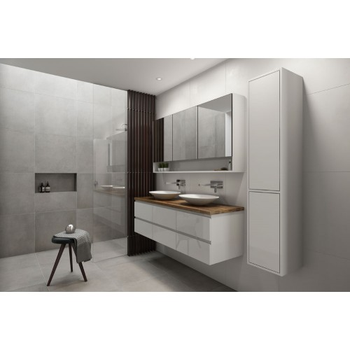 Ashton 1500 Wall Hung Double Vanity/Gloss White/Tasmanian Oak Top