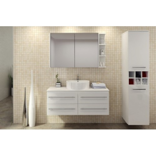 Ashton 1200 Wall Hung Vanity/Single Bowl/Artic White Silk Surface Top/Gloss White Cabinet