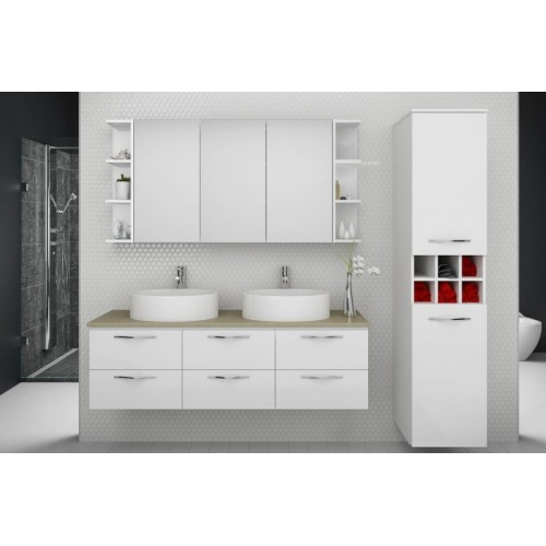 Ashton 1500 Wall Hung Vanity/Twin Bowl/Caesarstone Cloudburst Concrete Top/Gloss White Cabinet
