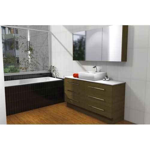 Ashton 1500 Floor Standing Vanity/Single Bowl/Solid Surface Arctic White Top/ Milano Walnut Cabinet
