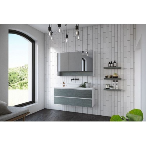 Billie 1200 Wall Hung Vanity/Solid Surface Arctic White Top/Fox Teakwood Cabinet