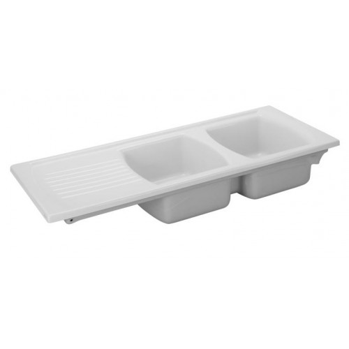 Turner Hastings Lusitano 120 Inset Fine Fireclay Kitchen Sink - Double Bowl and Single Drainer