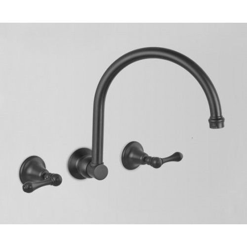 Astra Walker Kitchen Wall Set, Matte Black With Lever Handles