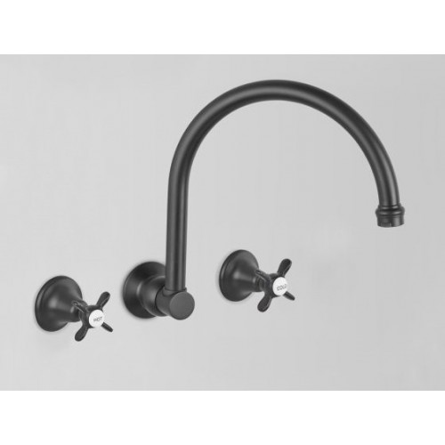 Astra Walker Kitchen Wall Set, Matte Black With Traditional Handles