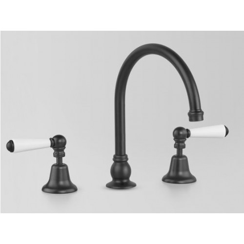 Astra Walker Sink Hob Set, Matte Black With White Porcelain Lever Handles