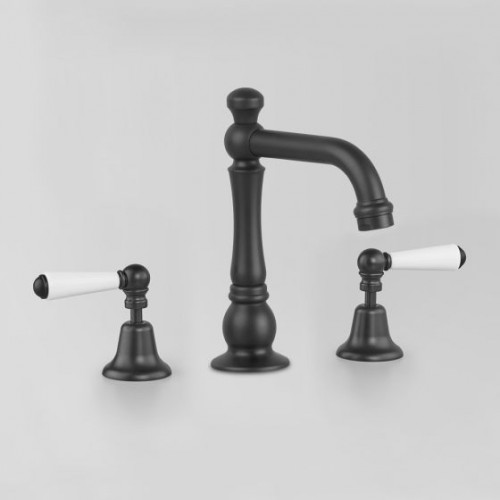 Astra Walker Basin Set Matte Black With White Porcelain Lever Handles