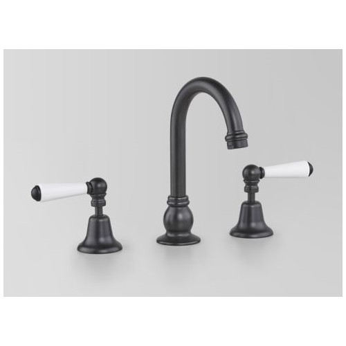 Astra Walker Olde English Collection Basin Set Matte Black With White Porcelain Lever Handles