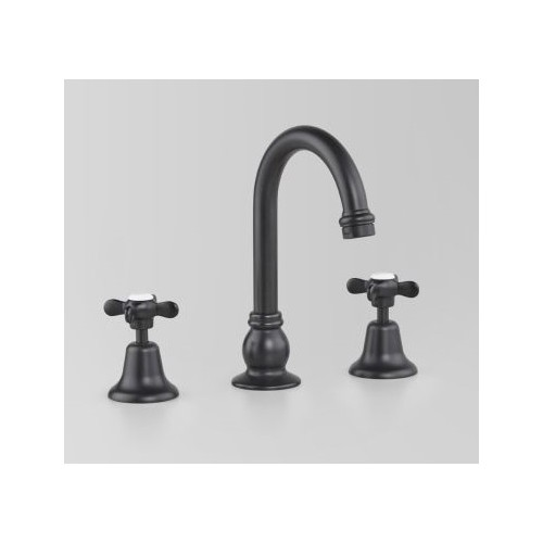 Astra Walker Basin Set Matte Black With Traditional Handles