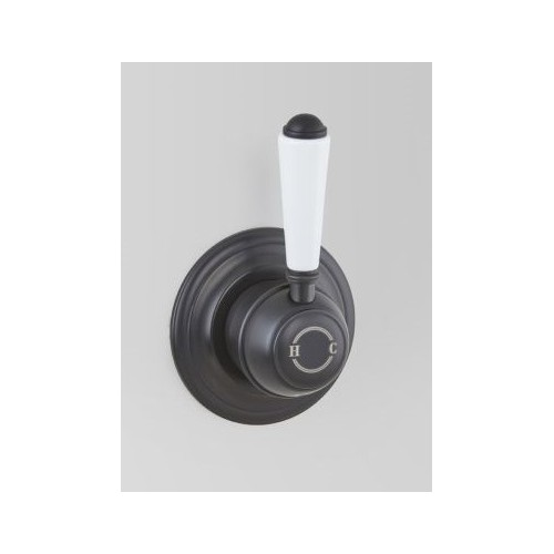 Astra Walker Wall Mixer, Matte Black With White Porcelain Lever Handle