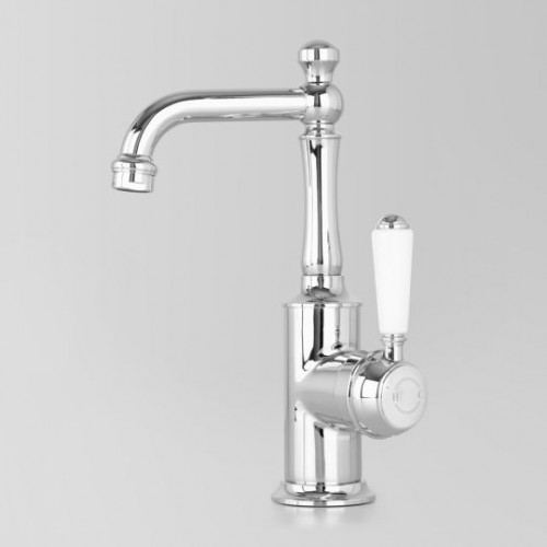 Olde English Signature Collection Basin Mixer/White Porcelain Lever Handle with Stanmore Spout