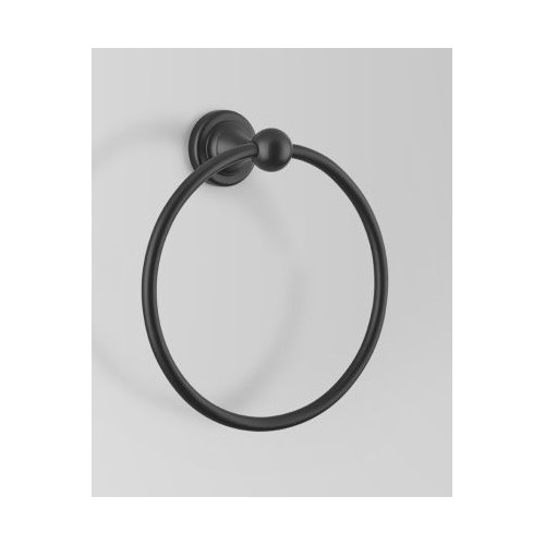 Olde English Matte Black Towel Ring