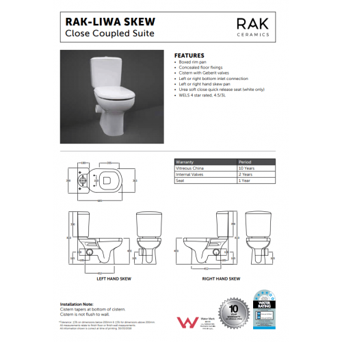 RAK LIWA White Close-Coupled Suite, Right Skew