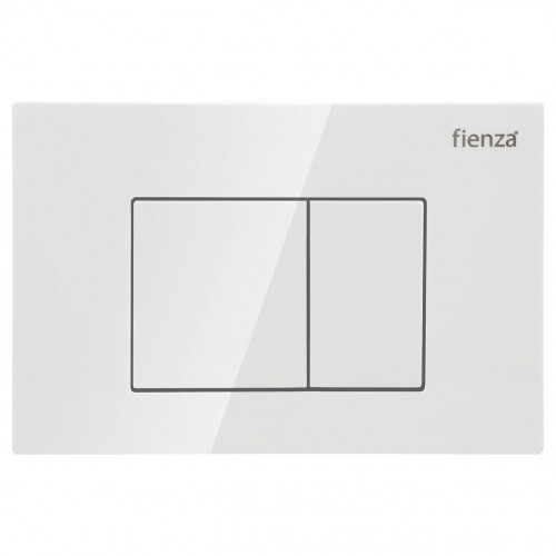 R&T Gloss White, Square Button Flush Plate