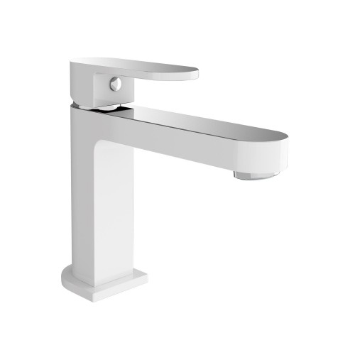 Nero Ecco Basin Mixer Chrome & White