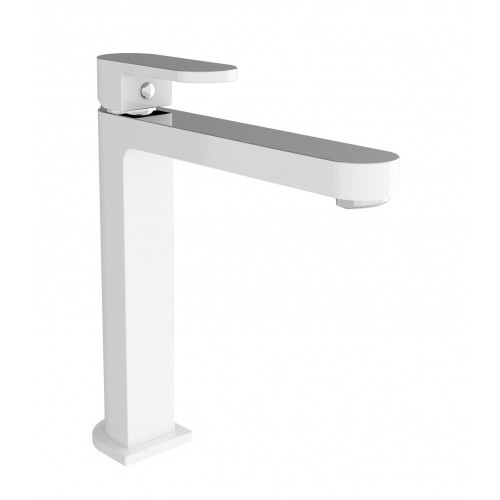 Nero Ecco Tall Basin Mixer Chrome & White