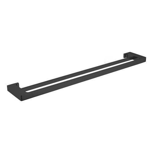 Pearl/Vitra Double Towel Rail Matte Black 800mm