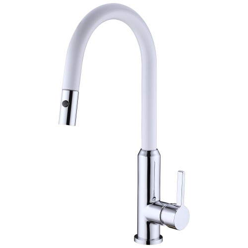 Nero Pearl Pull Out Sink Mixer With Vegie Spray Function/Chrome/White