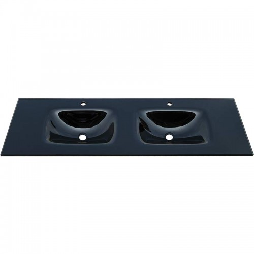 Fienza Mambo 1500 Double Glass Vanity Top Black