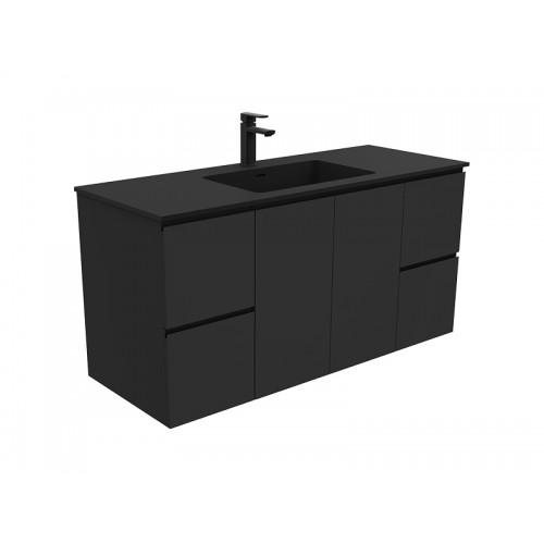 Montana 1200 Solid Surface Top Black Fingerpull Wall-hung Vanity