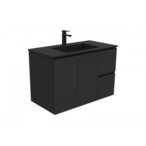 Montana 900 Solid Surface Top Black Fingerpull Wall Hung Cabinet