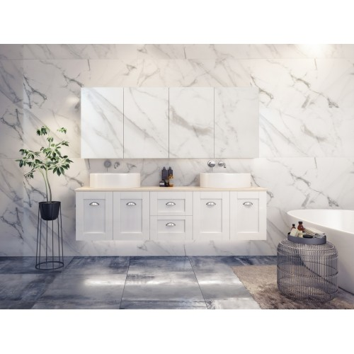 Timberline Victoria 1800 Double Bowl Wall Hung Vanity with Stone Top