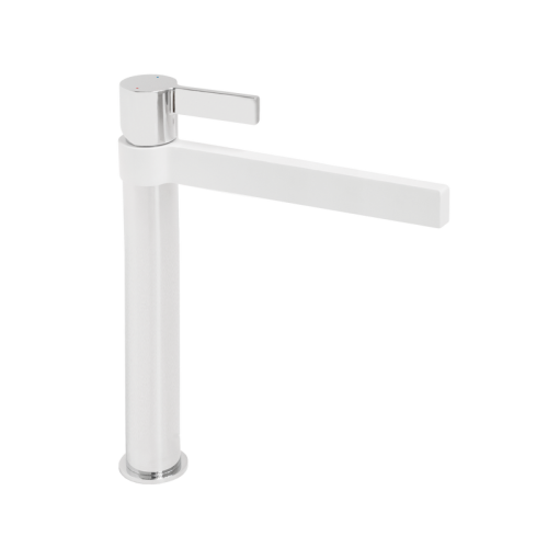 Jamie J Martini Tower Basin Mixer Matte White/Chrome