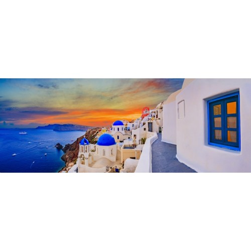 Oia Santorini Glass Wall Art