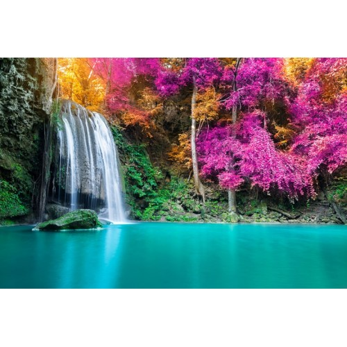 Exotic Waterfall Glass Wall Art