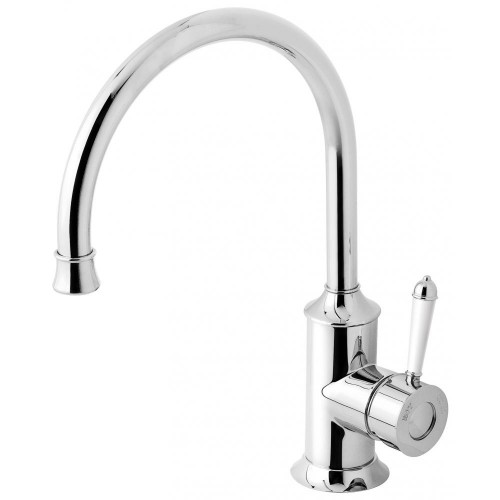 Phoenix Nostalgia Sink Mixer 220MM Gooseneck/Chrome White